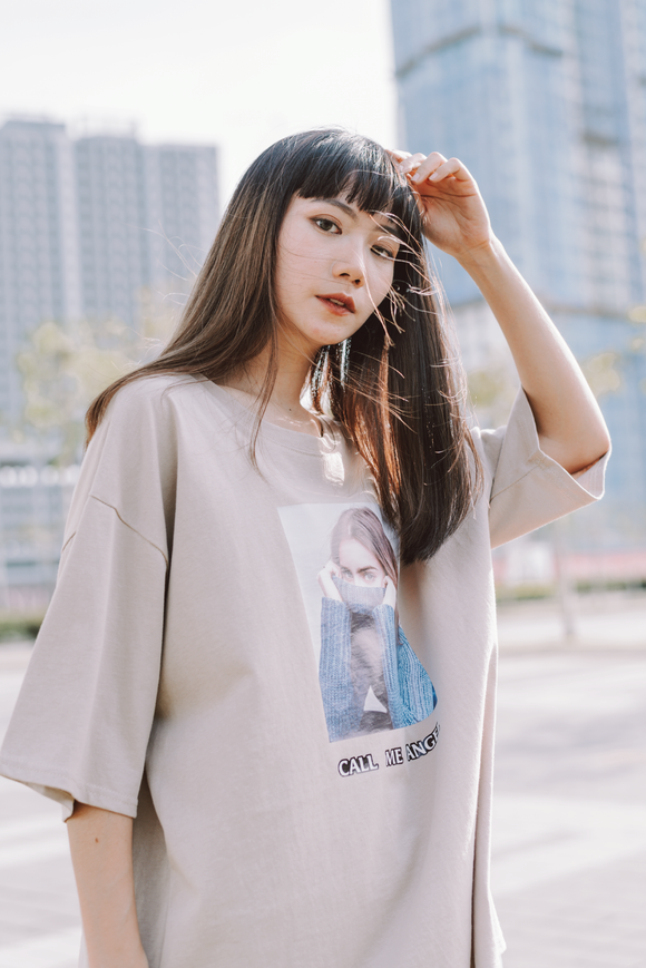 Call Me Angel Printed Word Oversize T-Shirt In Beige