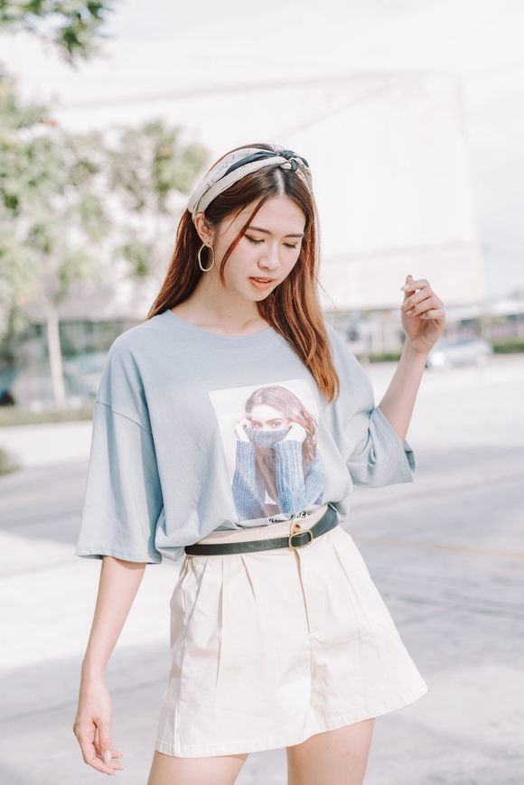 Call Me Angel Printed Word Oversize T-Shirt In Blue