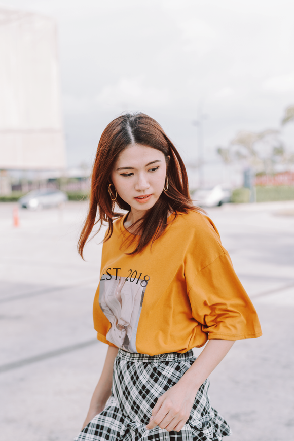 Printed Oversize T-Shirt Gold