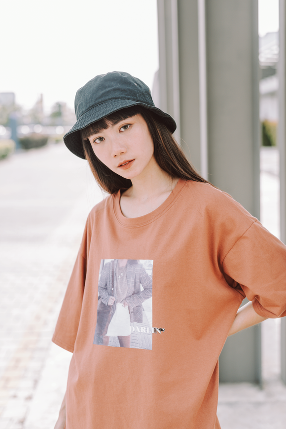 Darlin Printed Word Oversize T-Shirt In Brown