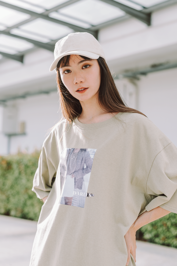 Darlin Printed Word Oversize T-Shirt In Green