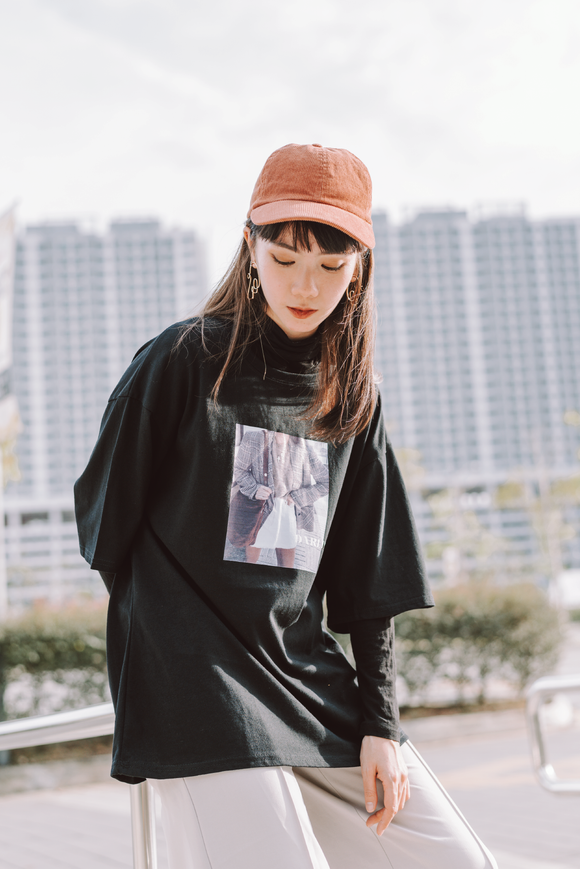 Darlin Printed Word Oversize T-Shirt In Black