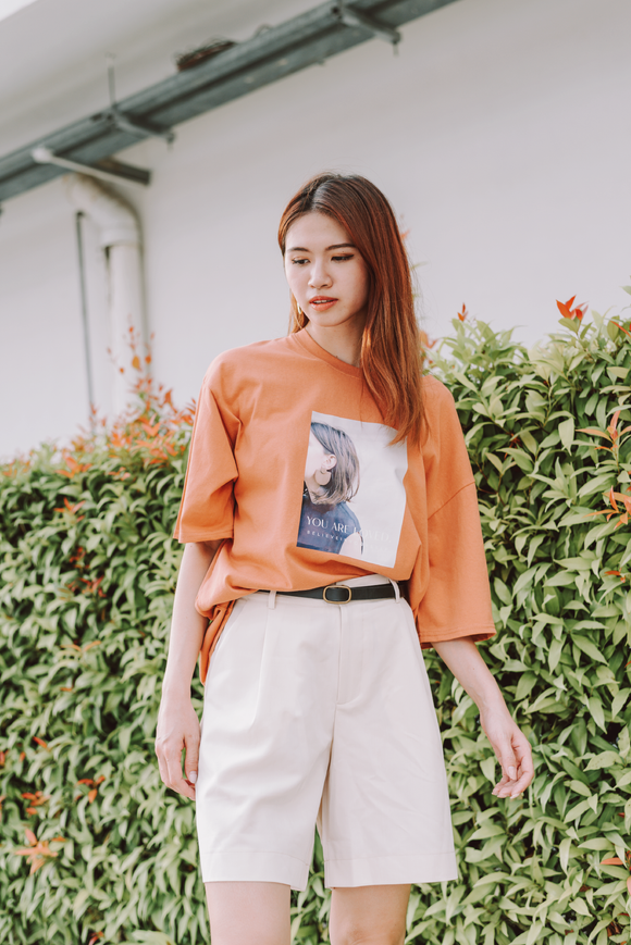 You Are Loved Printed Oversize T-Shirt In Orange
