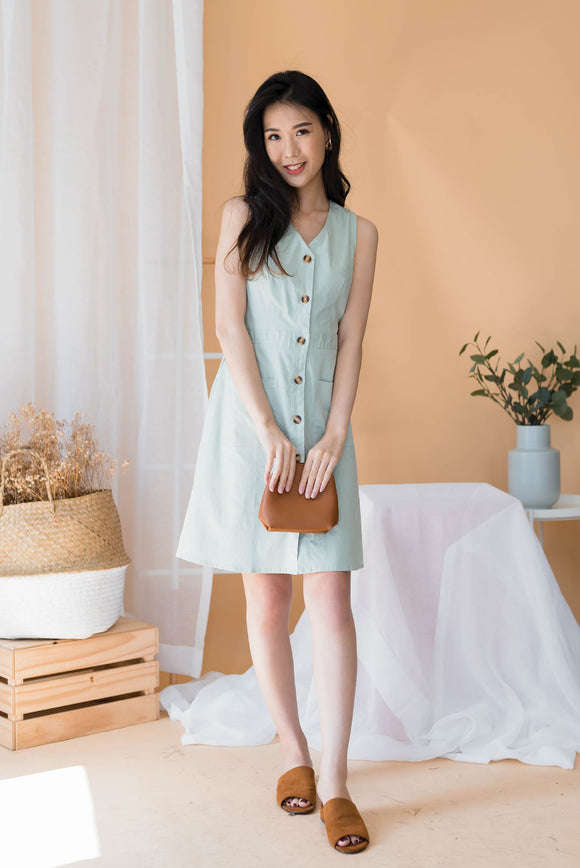 Babydoll Button Down Dress In Green