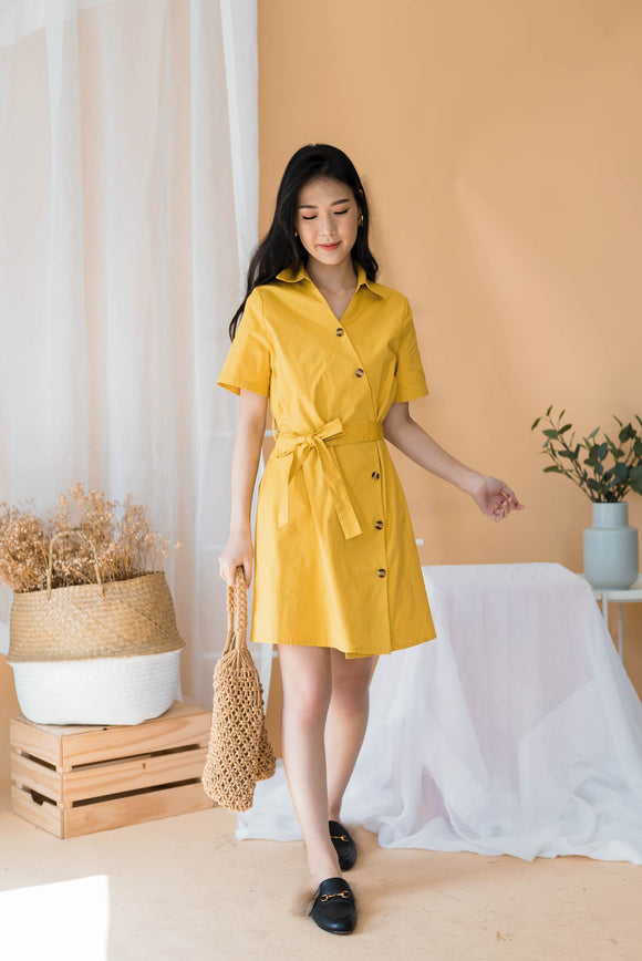 Off The Mark Shirt Dress In Yellow