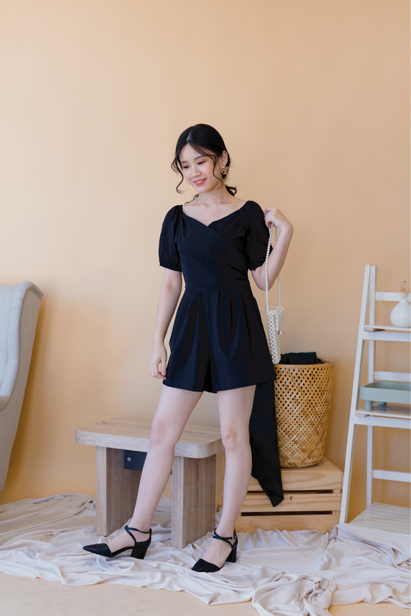 Deep V-neck Velvet Romper In Black
