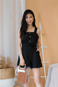 Ivory Sleeves-less Button Romper In Black