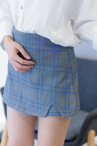Nora Plaid Skirt Pants In Blue