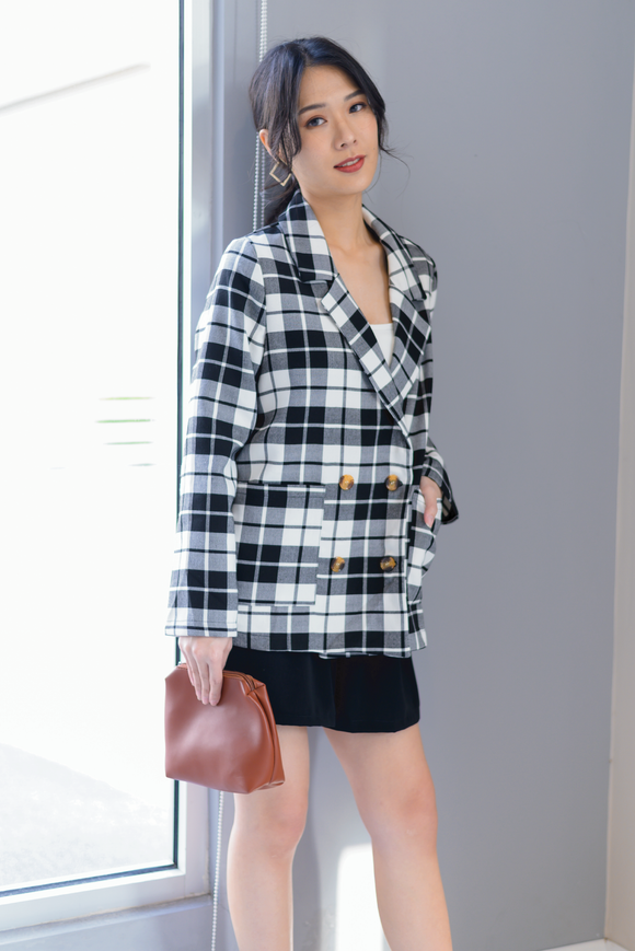 Charlie Plaid Blazer In Black