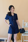 Chic Button Down Romper In Dark Blue