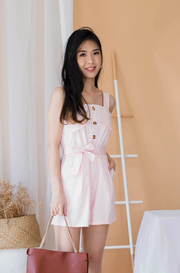 Ivory Sleeves-less Button Romper In Pink