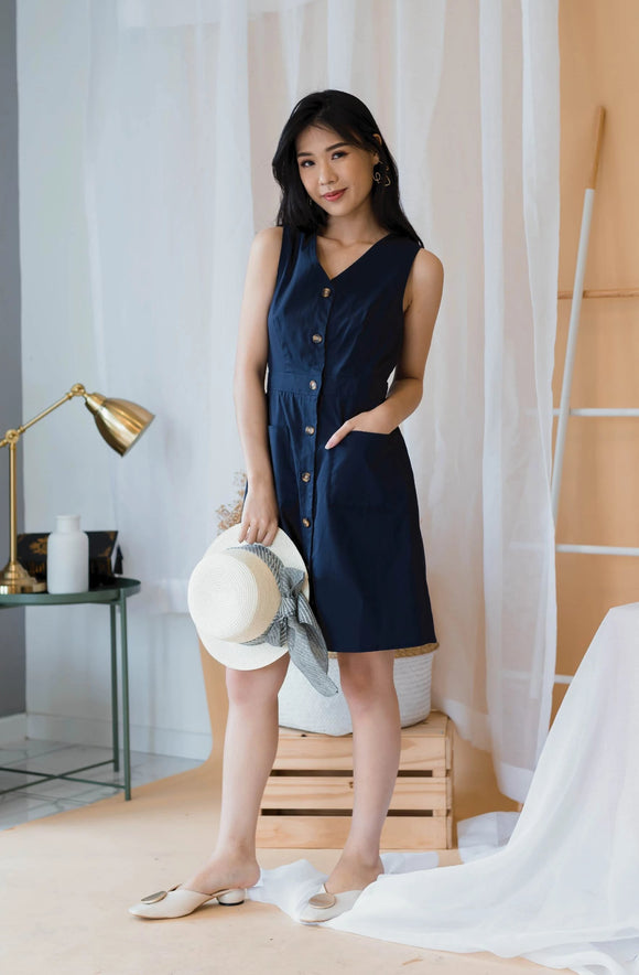 Babydoll Button Down Dress In Blue