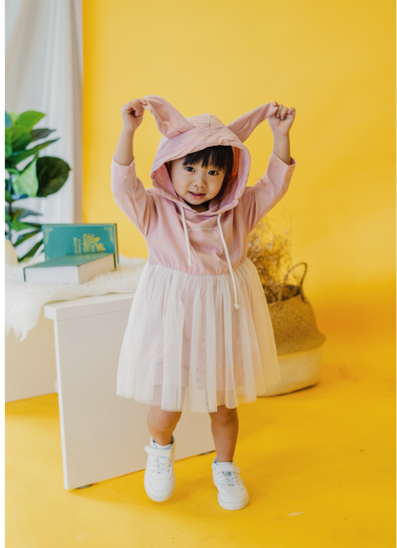 Rabbit Hoodie Frills Dress