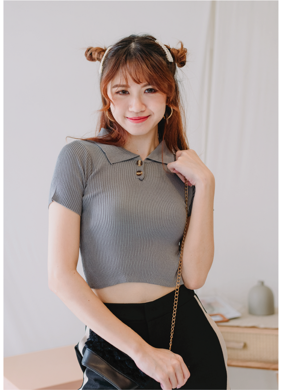 Knitted Button Crop Top