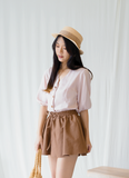 Manda Button Puff Sleeve In Light Pink