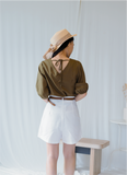 Manda Button Puff Sleeve In Olive Green