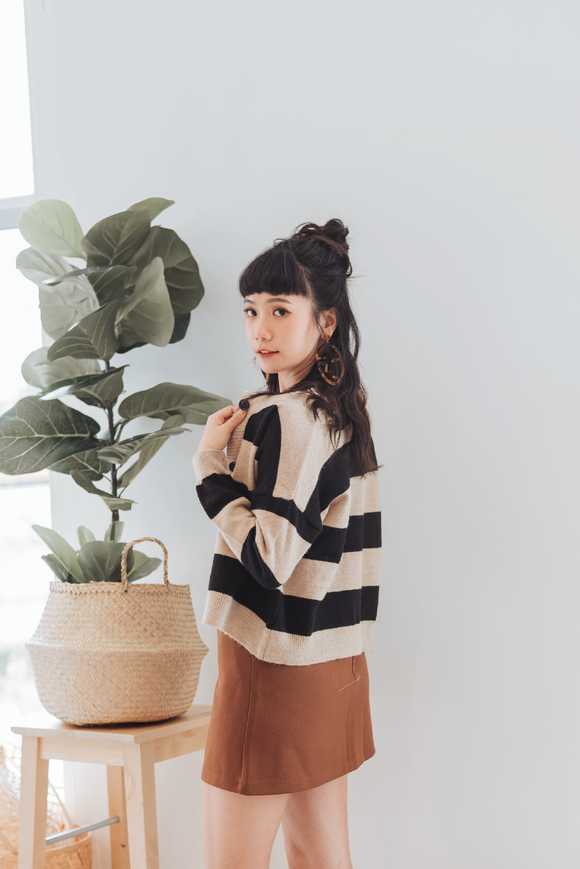 Royal Striped Button Sweater