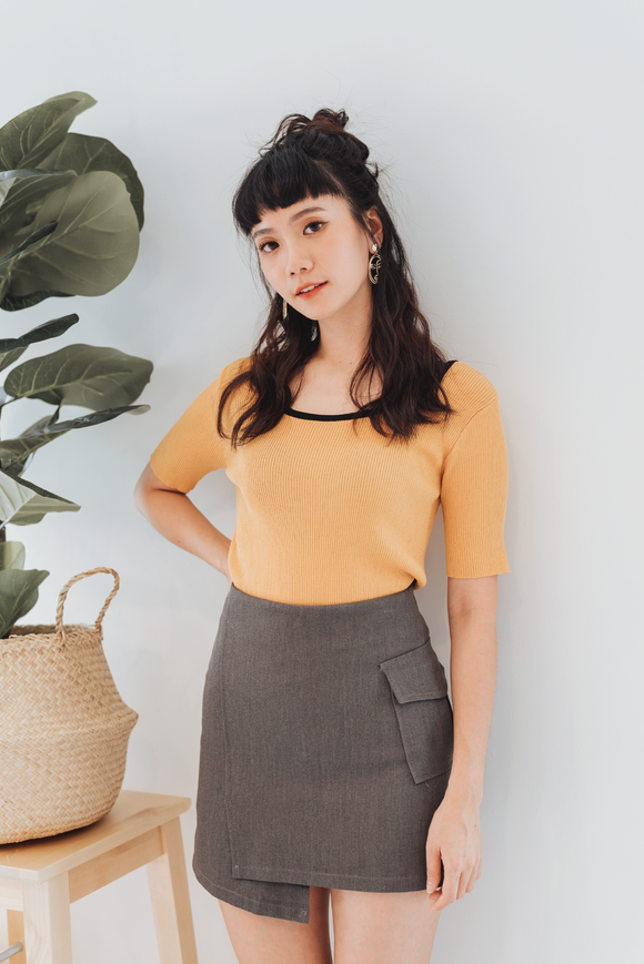 Back Ribbon Top In Yellow