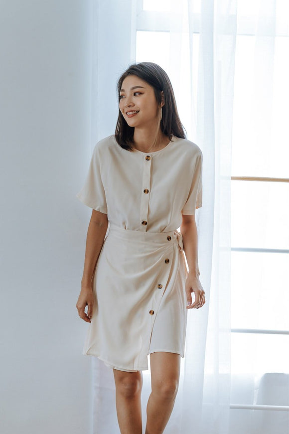 Eve Button Wrap Dress