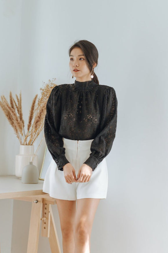 Penelope Embroidered Turtle-neck Top
