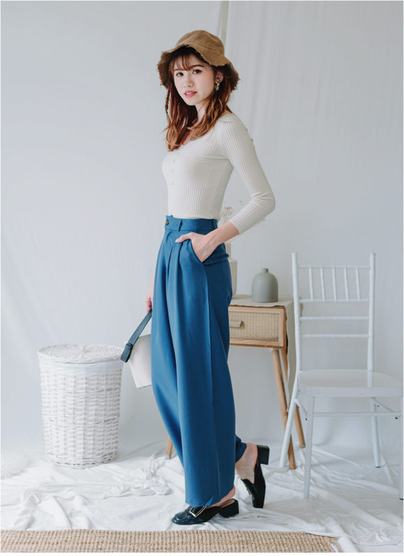 Wide Leg Pants In Blue