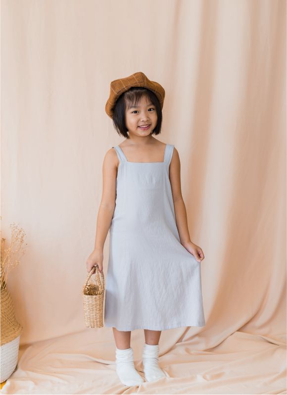 Elegant Cami Midi Dress In Sky Grey
