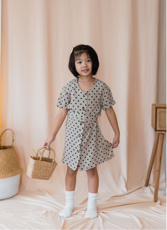 Polka Dot Button Down Dress In Brown