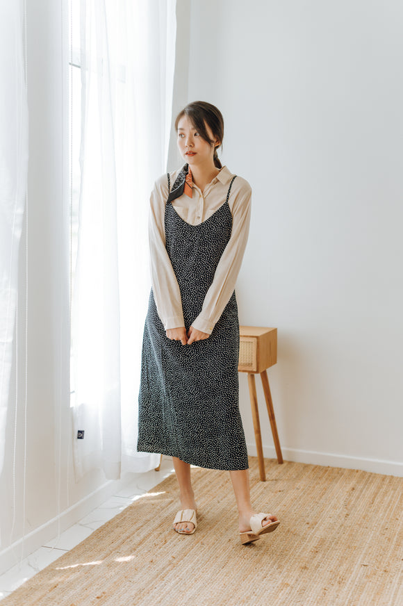 Yusina Polka-Dot Cami Dress