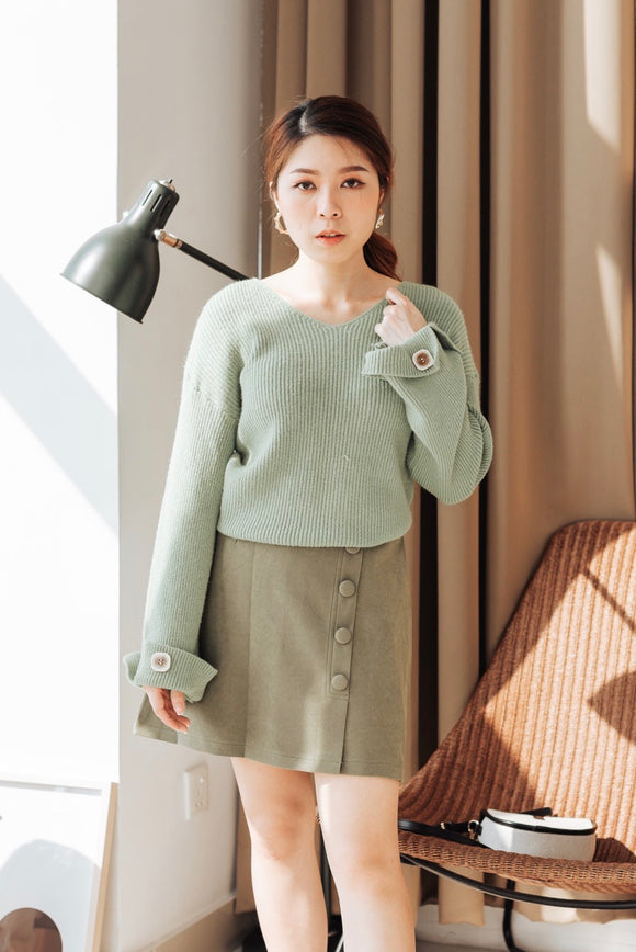 Sleeve Button Knit Sweater