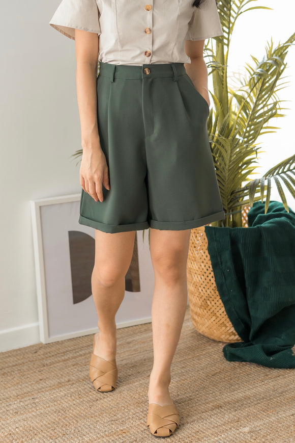 Dorothy High Waisted Pants in Dark Green