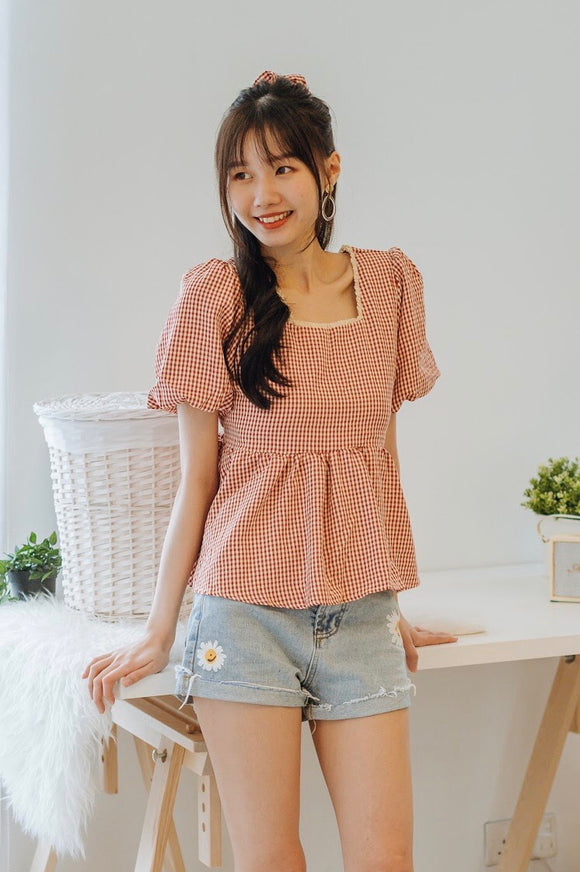 Roma Checkered Ruffle Top