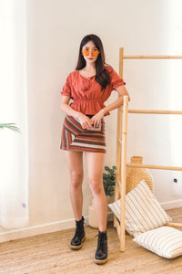 Uneven Stripe Hight Waist Skirt