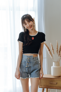Strawberry Knit Crop Top
