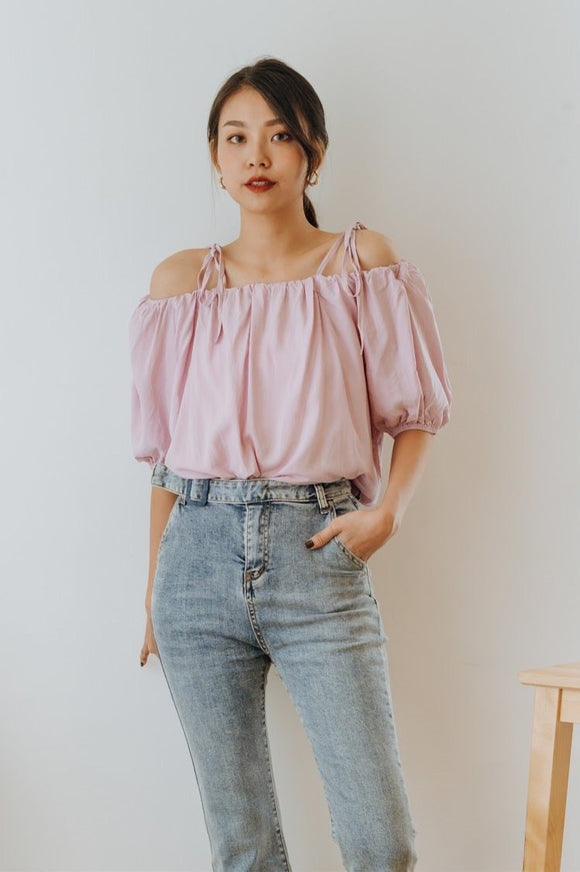 Kathylia Off Shoulder Tie Top