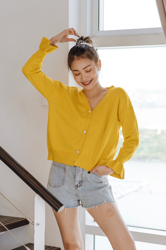 Foena Ruffle Sleeve Knit Sweater