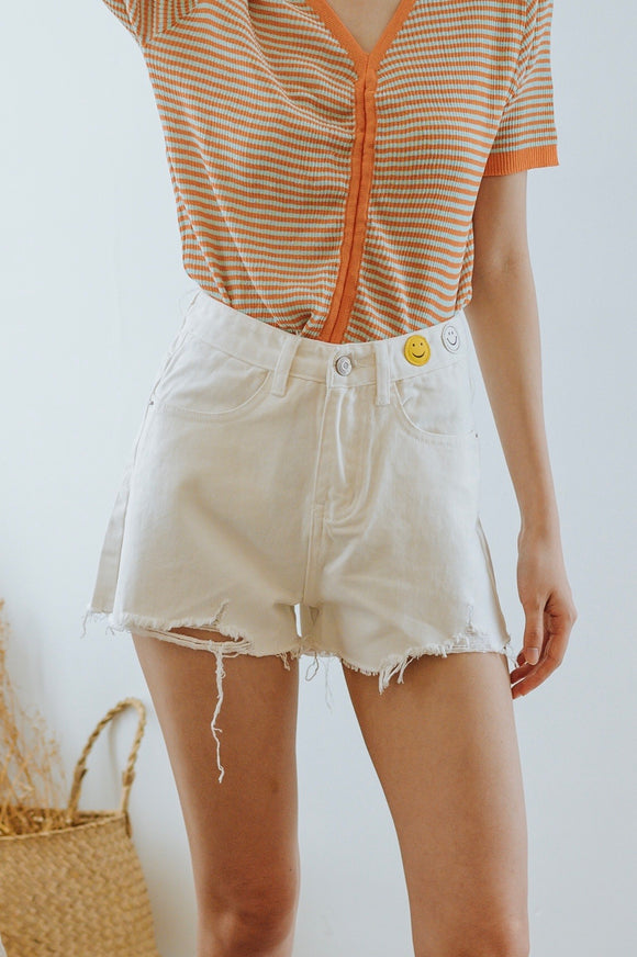 Smiley Raw Hem Denim Shorts