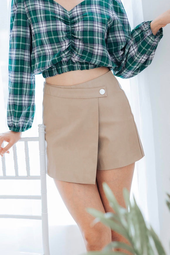 One Side Button Skort