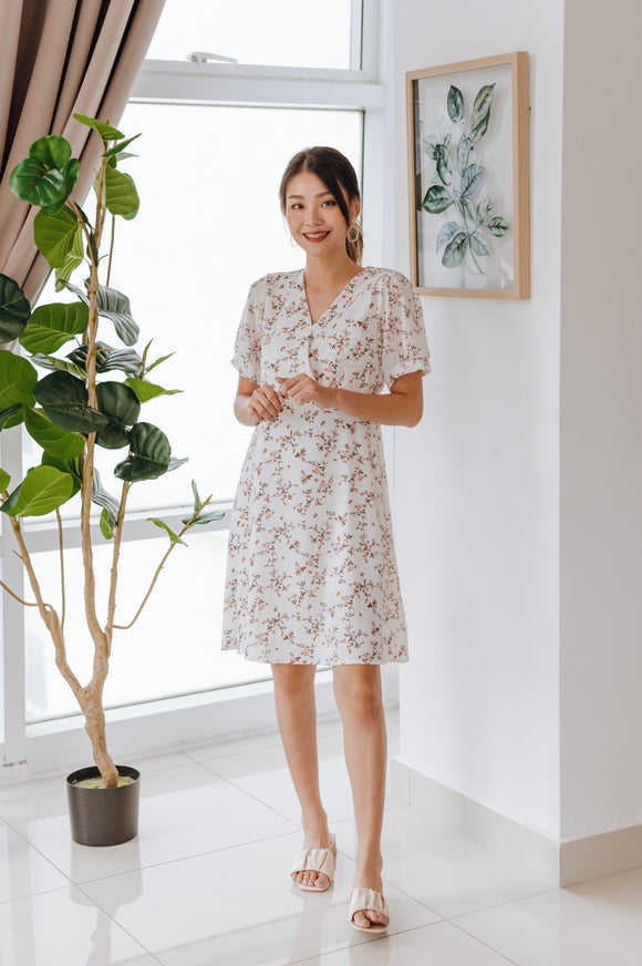 Kevin Floral Printed V-Neck Dress
