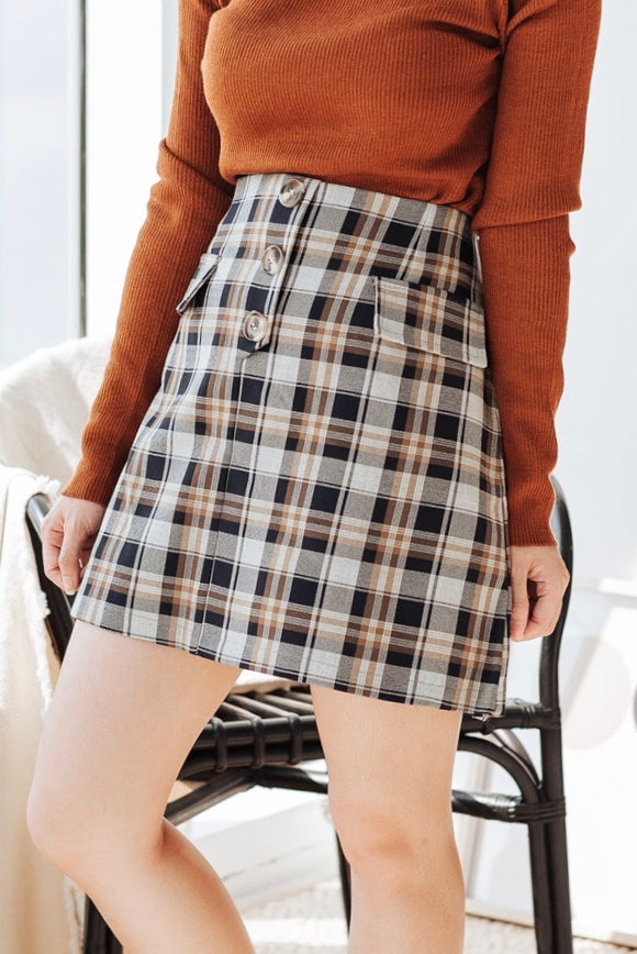Anessa Checkered Button Skirt