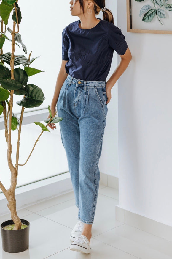 Given High Gathered Waist Jeans