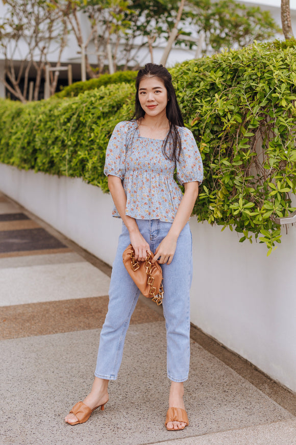 Zella Puff Sleeve Floral Top