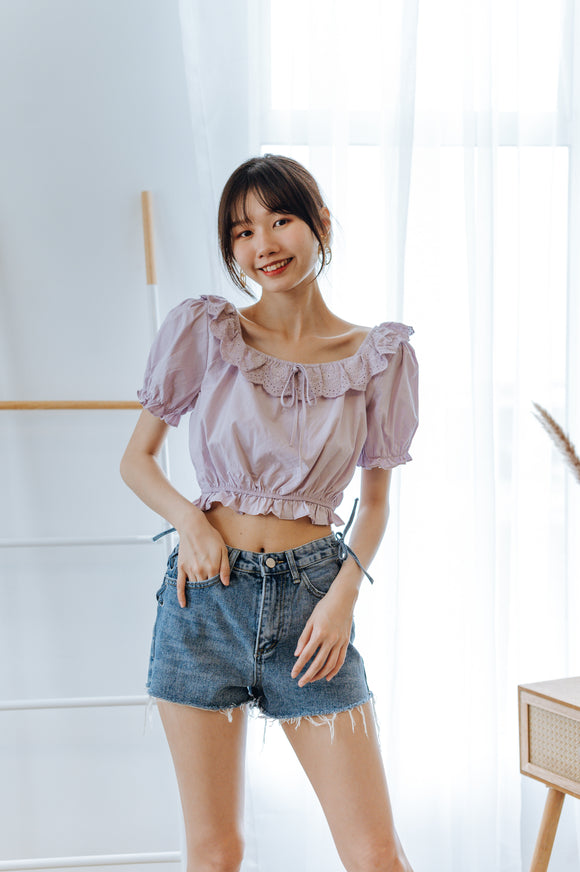 Lina Puff Sleeve Crop Top