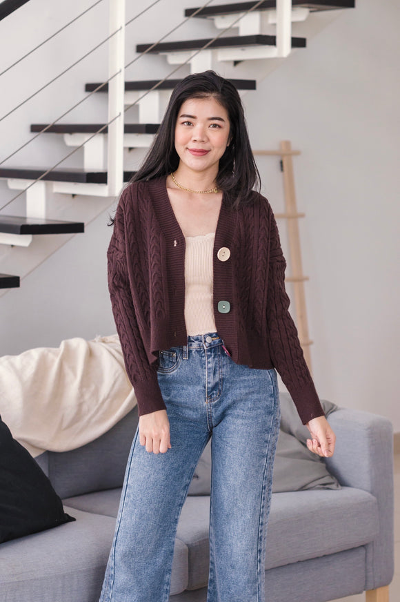 Brylee Button Sweater in Brown