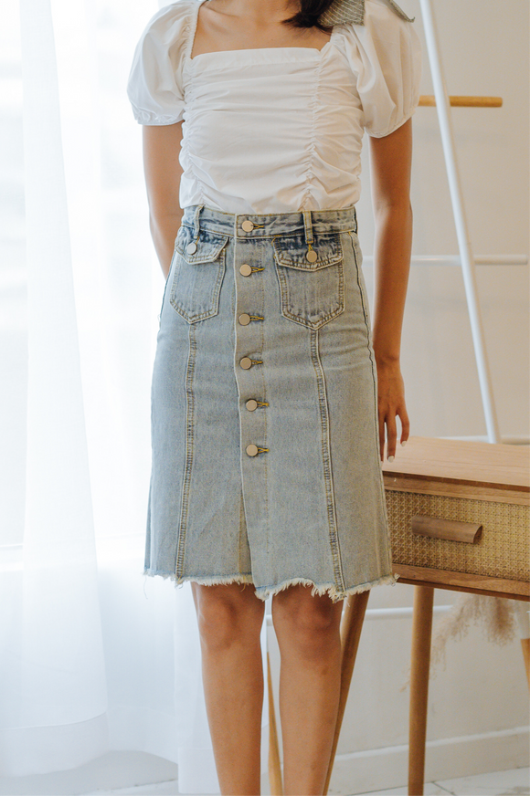 Kenna Button Denim Skirt
