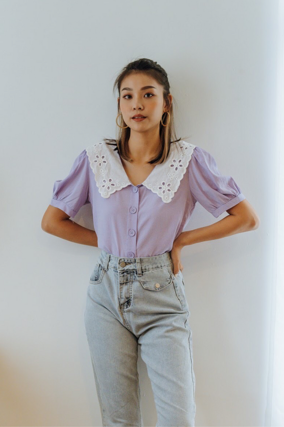 Cecelia Embroidered Collar Top
