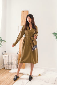 Collar Blazer Dress in Army Green