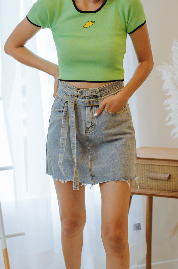 Jolie Belted Denim Skirt