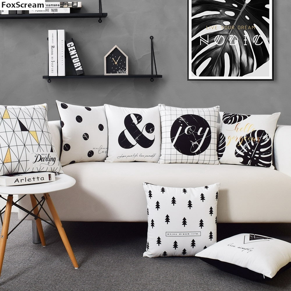 Capas de almofadas Black or White - Decorativas