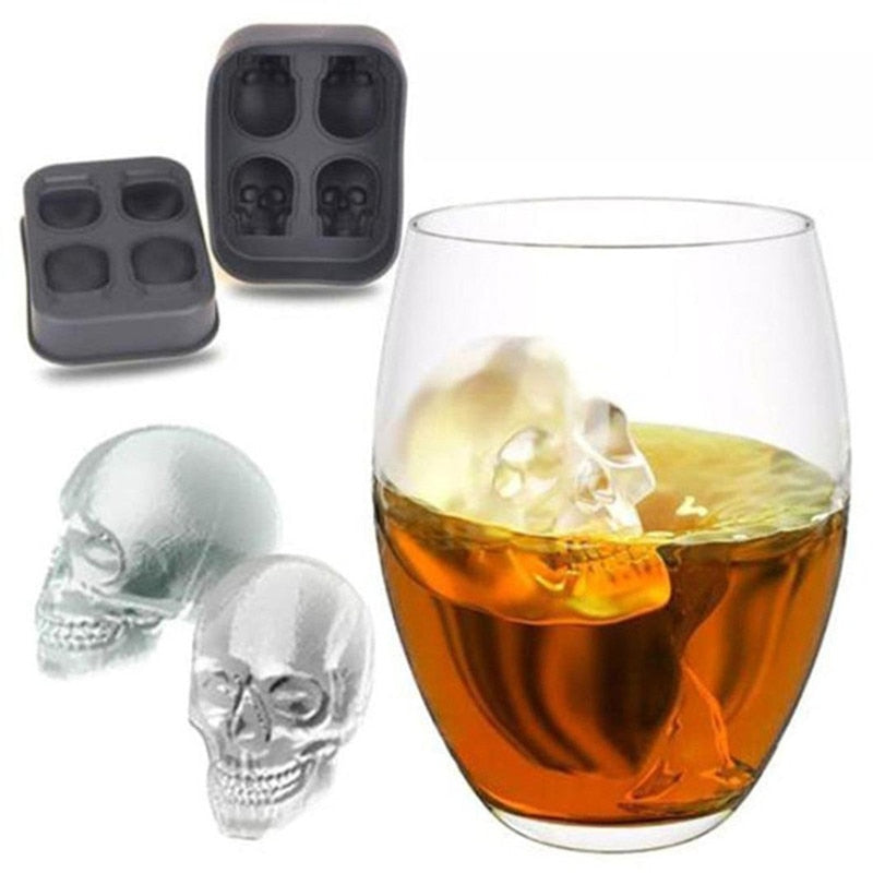 Ice Cube TrayPudding Mold 3D Skull Silicone Mold 4-Cavity DIY Ice Maker Household Use Kitchen Accessories - PriceDelux