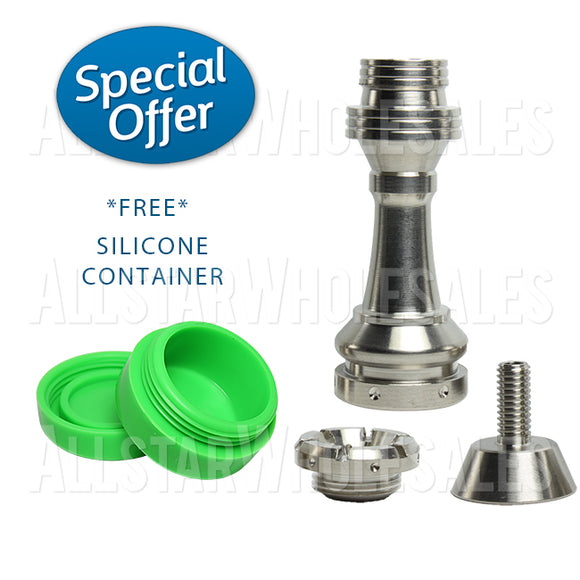 Royal Domeless Titanium Nail 4 in 1 - 14mm/18mm - Male/Female Free Silicone Jar